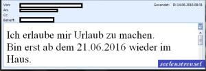 E-Mail Urlaub 14.06.16